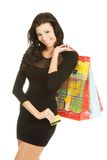 Woman with shopping bags and credit card Stock Image