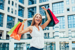 Woman with shopping bags in the ctiy Royalty Free Stock Photo