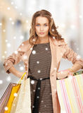 Woman with shopping bags in ctiy Royalty Free Stock Photo