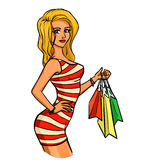 Woman with shopping bags. Elegant slender girl with sexy body holds in her hand some shopping bags. She has a fine profile . Vector color cartoon. Themes are Royalty Free Stock Image