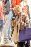 Woman shopping bags enjoy evening city Royalty Free Stock Photo