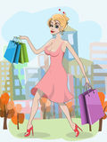 Woman with shopping bags. Illustration beautiful young woman with shopping bags Stock Photography