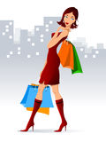 Woman with shopping bags. Stock Photo