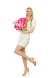 Woman with shopping bags isolated Stock Photography