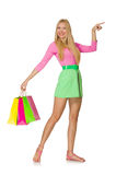 Woman with shopping bags isolated Royalty Free Stock Image