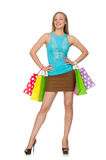 Woman with shopping bags isolated Stock Photos