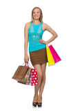 Woman with shopping bags isolated Royalty Free Stock Photo