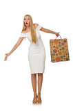 Woman with shopping bags isolated Royalty Free Stock Photography