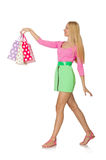 Woman with shopping bags isolated Royalty Free Stock Photos