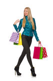 Woman with shopping bags isolated Royalty Free Stock Images
