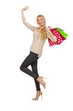Woman with shopping bags isolated Stock Image