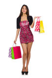 Woman with shopping bags isolated Stock Images