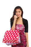Woman with shopping bags isolated Stock Photo