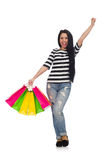 Woman with shopping bags isolated on white Royalty Free Stock Photo