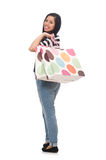 Woman with shopping bags isolated on white Stock Photo
