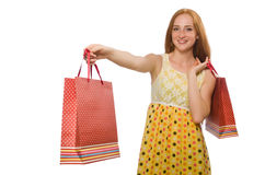 Woman with shopping bags isolated on white Royalty Free Stock Photography