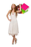 Woman with shopping bags isolated on white Royalty Free Stock Photos