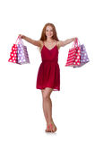Woman with shopping bags isolated on white Stock Images