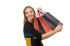 Woman with shopping bags isolated on white Stock Photography