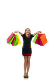 Woman with shopping bags isolated on white Stock Photos