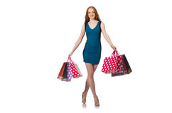 Woman with shopping bags isolated on white Stock Image