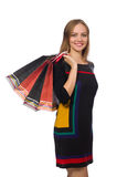 The woman with shopping bags isolated on white Royalty Free Stock Photos