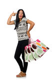 The woman with shopping bags isolated on white Royalty Free Stock Photography