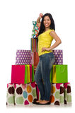 The woman with shopping bags isolated on white Royalty Free Stock Image