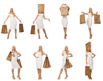 The woman with shopping bags isolated on white Stock Images