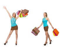 Woman with shopping bags isolated on white Royalty Free Stock Images