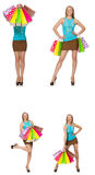 The woman with shopping bags isolated on white Royalty Free Stock Photo