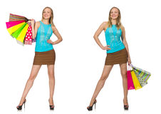 The woman with shopping bags isolated on white Stock Photo