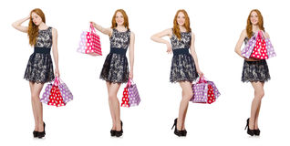 The woman with shopping bags isolated on white Royalty Free Stock Images