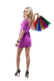 Woman with Shopping Bags isolated on White background. Royalty Free Stock Image