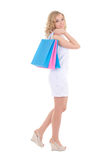 Woman with shopping bags isolated on white Royalty Free Stock Image