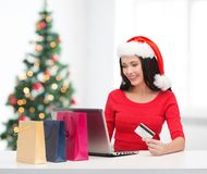 Woman with shopping bags, laptop and credit card Stock Photos