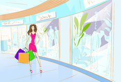 Woman Shopping Bags Modern Luxury Shop Mall Royalty Free Stock Image