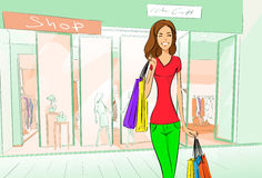 Woman Shopping Bags Modern Luxury Shop Mall Stock Photo