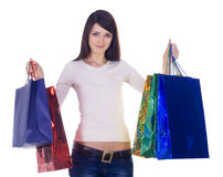 Woman with shopping bags over white Royalty Free Stock Photo