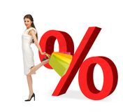Woman with shopping bags and percent signs Stock Photography