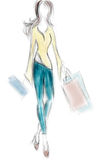 Woman on Shopping with Bags Royalty Free Stock Photo