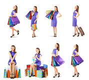 Woman with shopping bags set Stock Photos