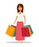Woman with shopping bags. Shop sale vector illustration Stock Photography