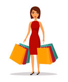 Woman with shopping bags. Shop sale vector illustration Stock Images