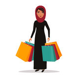 Woman with shopping bags. Shop sale vector illustration Royalty Free Stock Photos