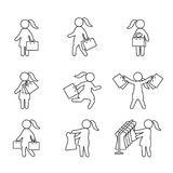 Woman with shopping bags and shopping thin line icon set. Vector icons. Eps10 Royalty Free Stock Image