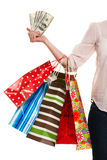 Woman with shopping bags while shopping Royalty Free Stock Photography
