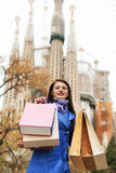 Woman with shopping bags at street in Barcelona Stock Image