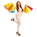 Woman with shopping bags after a successful purchase on the sale Royalty Free Stock Photo