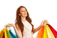 Woman with shopping bags after a successful purchase on the sale Royalty Free Stock Image
